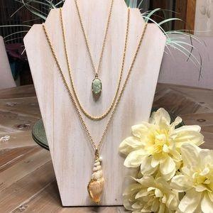 Jewelry - NWOT Layered 3-in-1 Druzy Shell Necklace – WGR4363